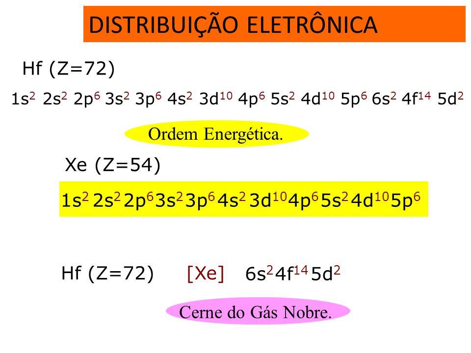 DISTRIBUIÇÃO ELETRÔNICA 32e18e Hf (Z=72) 1s 2 2s 2 2p 6 3s 2 3p 6 4s 2 3d 10 4p 6 5s 2 4d 10 5p 6 6s 2 4f 14 5d 2 1s 2 2s 2 2p 6 3s 2 3p 6 3d 10 4s 2