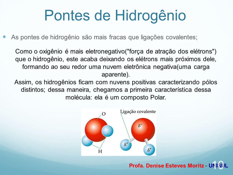 Profa. Denise Esteves Moritz - UNISUL Pontes de Hidrogênio As pontes de hidrogênio são mais fracas que ligações covalentes; Como o oxigênio é mais ele