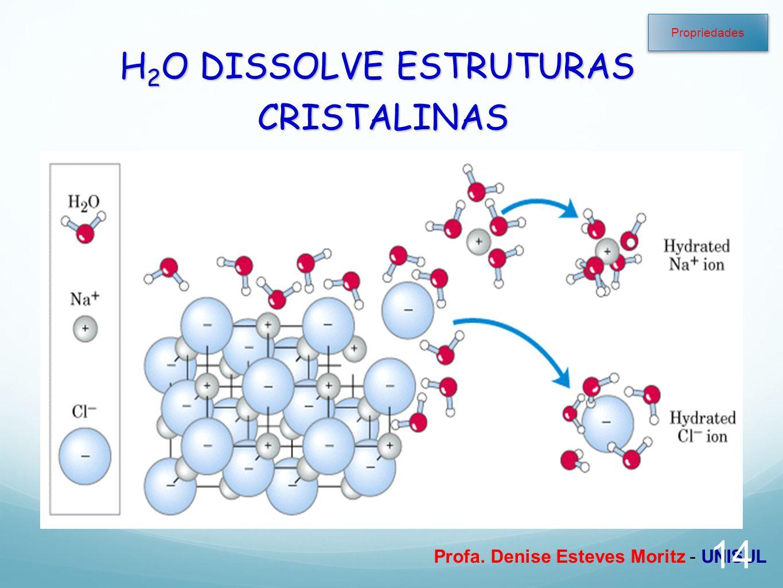 Profa. Denise Esteves Moritz - UNISUL H 2 O DISSOLVE ESTRUTURAS CRISTALINAS 14 Propriedades