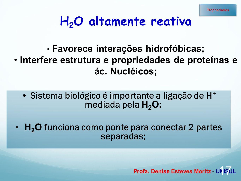 Profa. Denise Esteves Moritz - UNISUL Sistema biológico é importante a ligação de H + mediada pela H 2 O ; H 2 O funciona como ponte para conectar 2 p