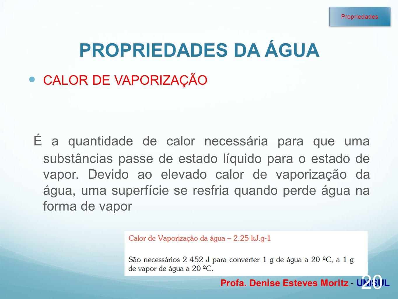 Profa. Denise Esteves Moritz - UNISUL PROPRIEDADES DA ÁGUA CALOR DE VAPORIZAÇÃO É a quantidade de calor necessária para que uma substâncias passe de e