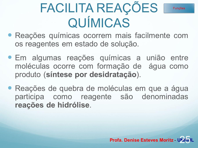 Profa. Denise Esteves Moritz - UNISUL FACILITA REAÇÕES QUÍMICAS Reações químicas ocorrem mais facilmente com os reagentes em estado de solução. Em alg