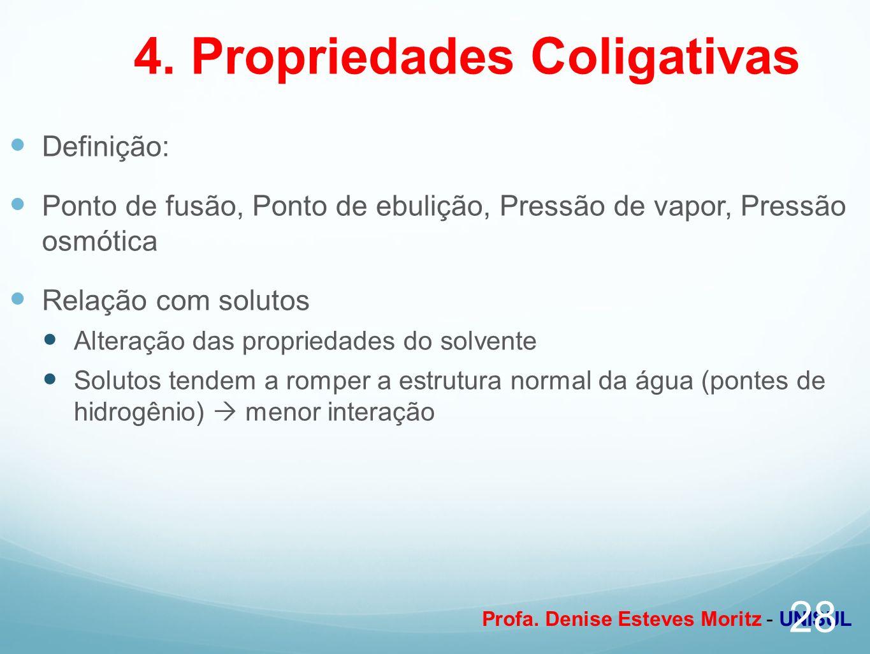 Profa. Denise Esteves Moritz - UNISUL 4. Propriedades Coligativas Definição: Ponto de fusão, Ponto de ebulição, Pressão de vapor, Pressão osmótica Rel