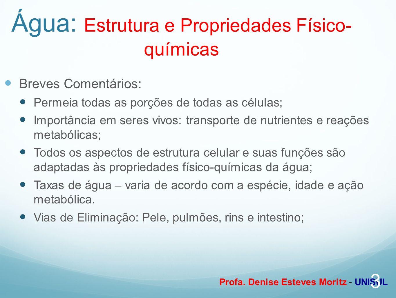 Profa. Denise Esteves Moritz - UNISUL Água: Estrutura e Propriedades Físico- químicas Breves Comentários: Permeia todas as porções de todas as células