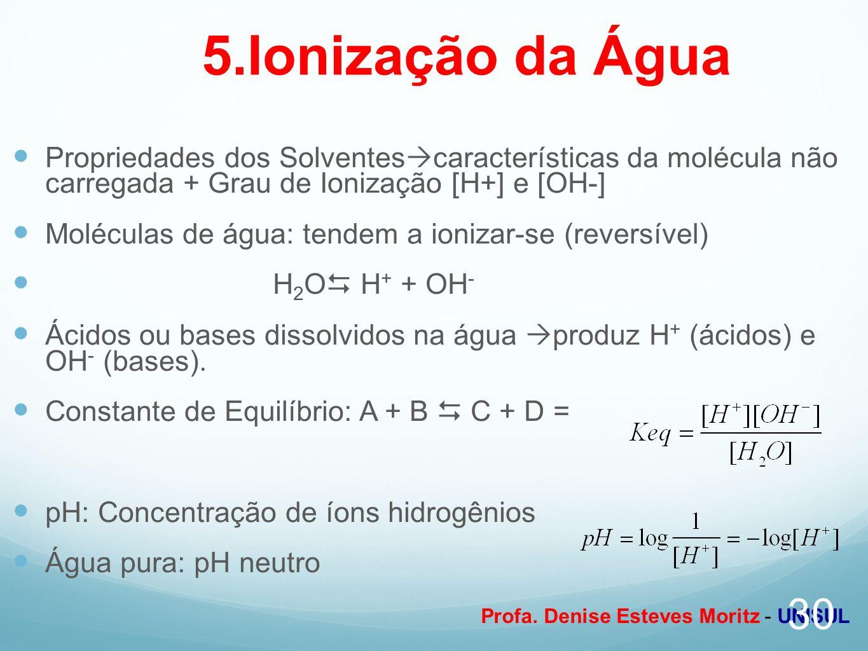 Profa. Denise Esteves Moritz - UNISUL 5.Ionização da Água Propriedades dos Solventes características da molécula não carregada + Grau de Ionização [H+