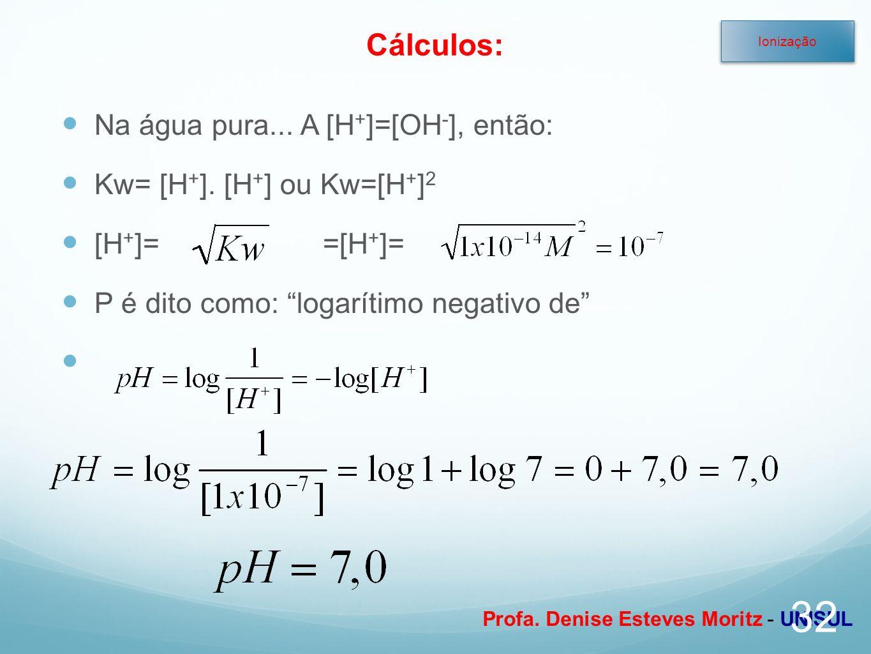 Profa. Denise Esteves Moritz - UNISUL Na água pura... A [H + ]=[OH - ], então: Kw= [H + ]. [H + ] ou Kw=[H + ] 2 [H + ]==[H + ]= P é dito como: logarí