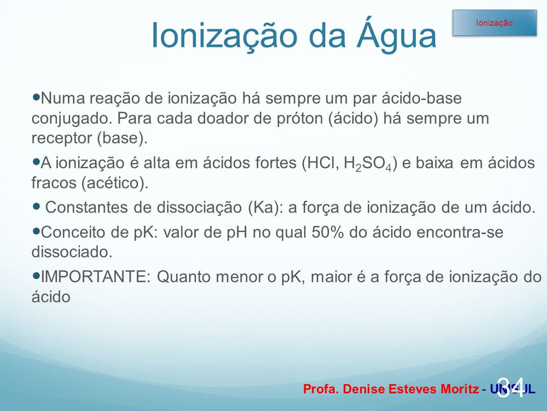 Profa. Denise Esteves Moritz - UNISUL Ionização da Água Numa reação de ionização há sempre um par ácido-base conjugado. Para cada doador de próton (ác