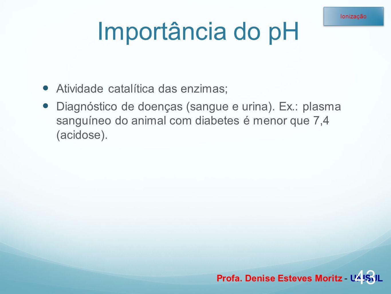 Profa. Denise Esteves Moritz - UNISUL Importância do pH Atividade catalítica das enzimas; Diagnóstico de doenças (sangue e urina). Ex.: plasma sanguín