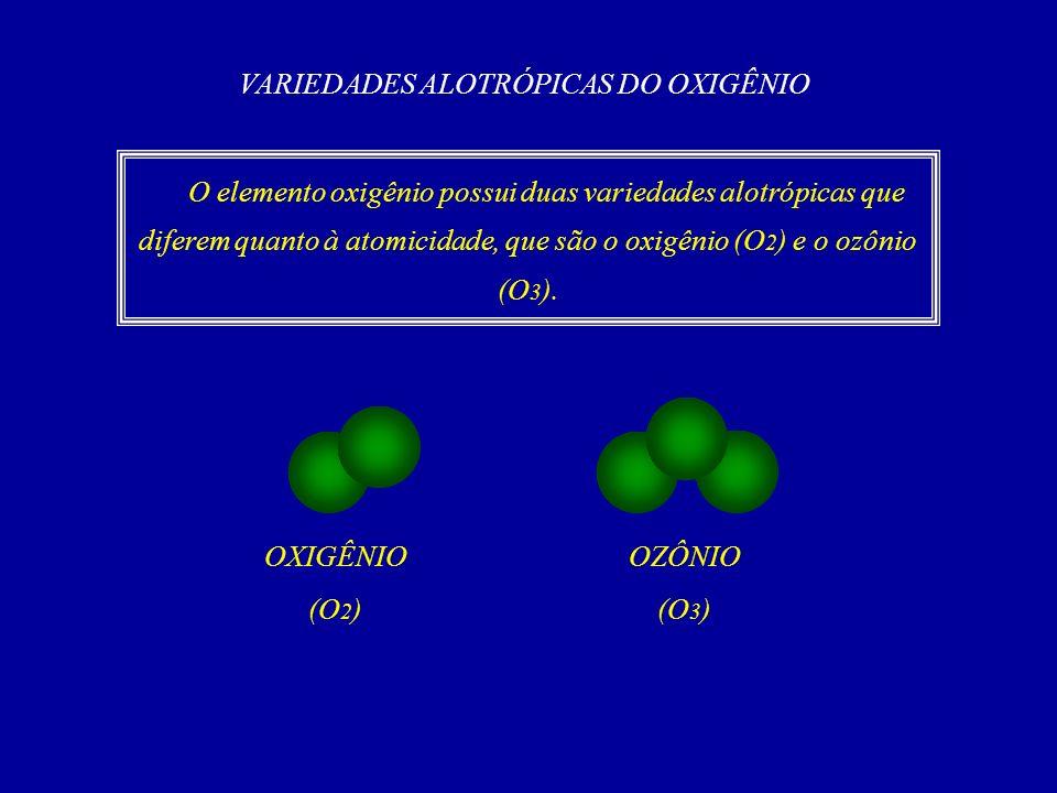 VARIEDADES ALOTRÓPICAS DO OXIGÊNIO O elemento oxigênio possui duas variedades alotrópicas que diferem quanto à atomicidade, que são o oxigênio (O 2 ) e o ozônio (O 3 ).