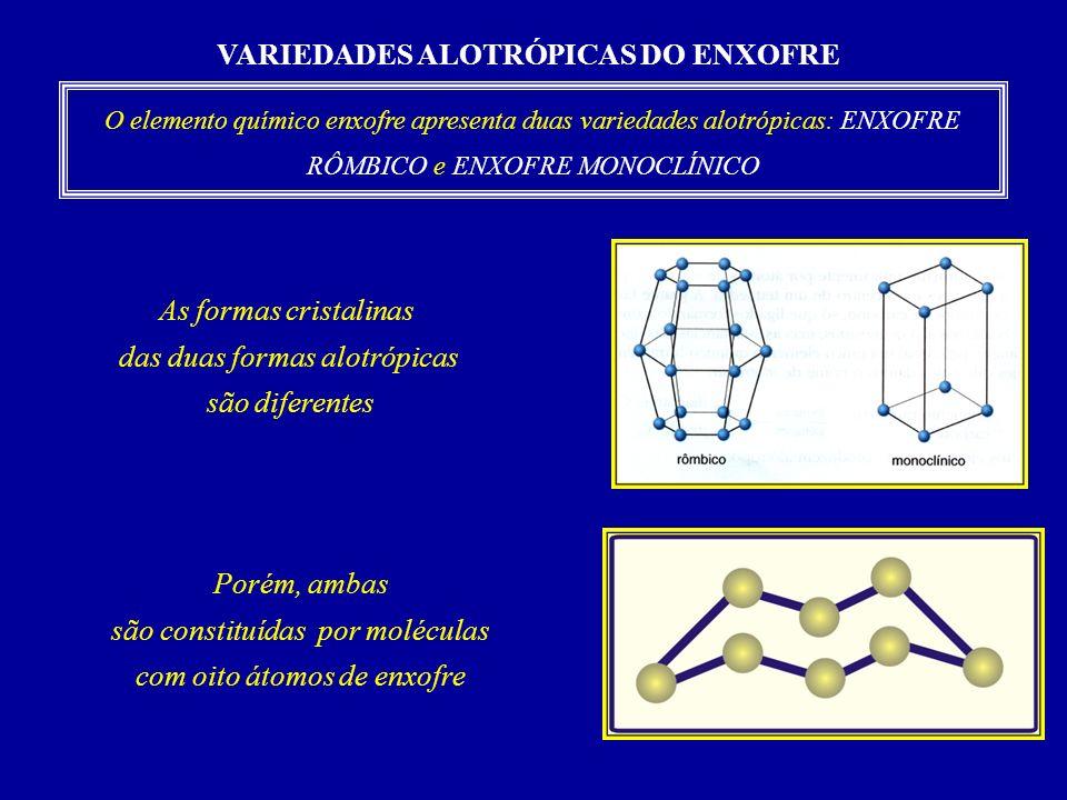 VARIEDADES ALOTRÓPICAS DO ENXOFRE O elemento químico enxofre apresenta duas variedades alotrópicas: ENXOFRE RÔMBICO e ENXOFRE MONOCLÍNICO As formas cristalinas das duas formas alotrópicas são diferentes Porém, ambas são constituídas por moléculas com oito átomos de enxofre