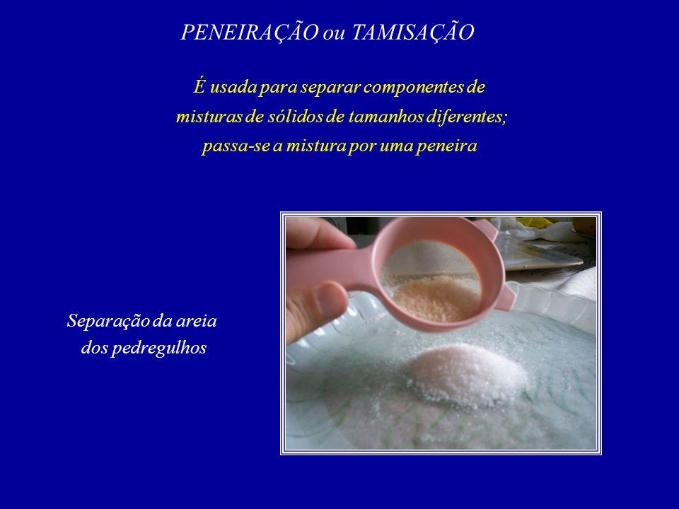 PENEIRAÇÃO ou TAMISAÇÃO É usada para separar componentes de misturas de sólidos de tamanhos diferentes; passa-se a mistura por uma peneira Separação da areia dos pedregulhos