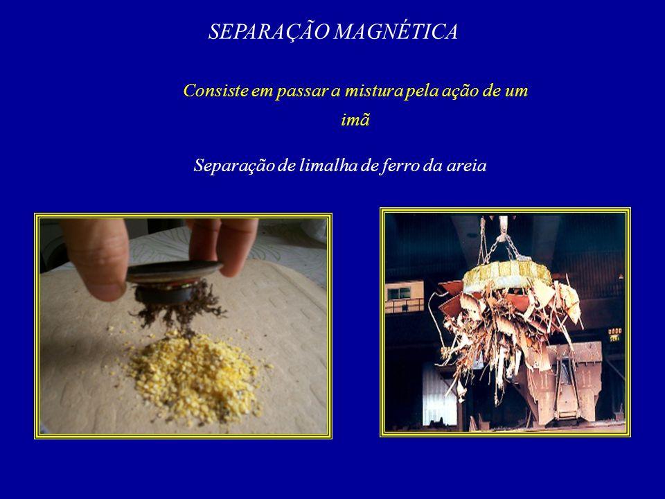 SEPARAÇÃO MAGNÉTICA Consiste em passar a mistura pela ação de um imã Separação de limalha de ferro da areia