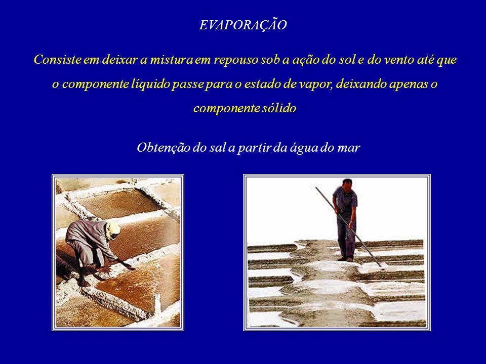 EVAPORAÇÃO Consiste em deixar a mistura em repouso sob a ação do sol e do vento até que o componente líquido passe para o estado de vapor, deixando apenas o componente sólido Obtenção do sal a partir da água do mar
