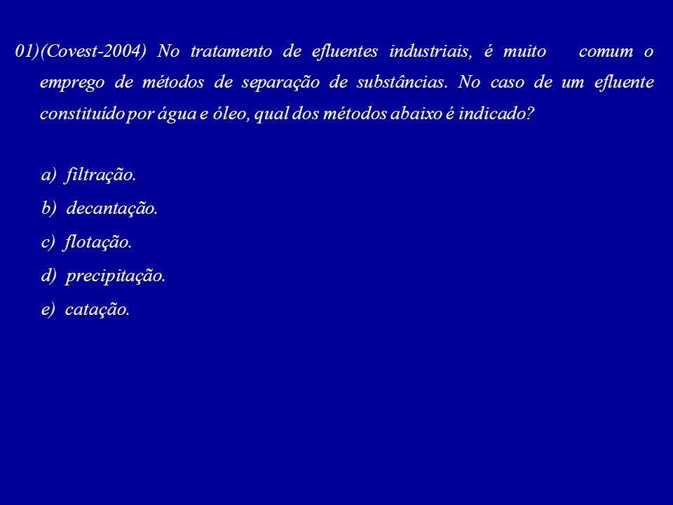 01)(Covest-2004) No tratamento de efluentes industriais, é muito comum o emprego de métodos de separação de substâncias. No caso de um efluente consti