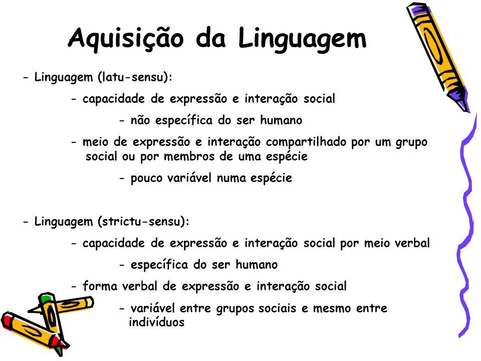 Aquisição da Linguagem - Linguagem (latu-sensu): - capacidade de expressão e interação social - não específica do ser humano - meio de expressão e int