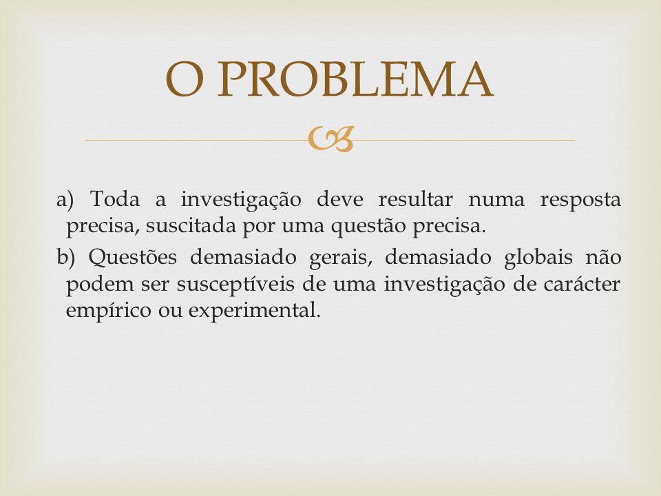 O PROBLEMA EM INVESTIGAÇÃO, A METODOLOGIA PRESSUPÕE A ESCOLHA DE UM TEMA.