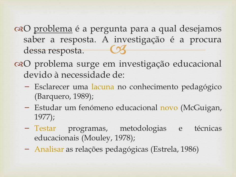 O problema é a pergunta para a qual desejamos saber a resposta. A investigação é a procura dessa resposta. O problema surge em investigação educaciona