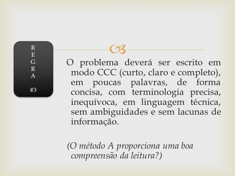 O problema deverá ser escrito em modo CCC (curto, claro e completo), em poucas palavras, de forma concisa, com terminologia precisa, inequívoca, em li