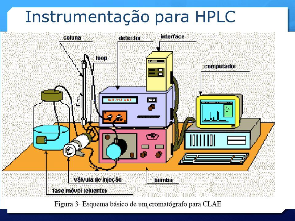 Colunas Cromatográficas Fases estacionárias : Sílica- C8 Sílica- C18 Sílica- C18 ( ODS) Sílica- NH2 Sílica- Diol Sílica Troca Iônica Resinas DVB-ST Sulfonadas Ca Resinas DVB-ST porosas Pré-Coluna: É o uma pequena coluna instalada a montante da coluna analítica.