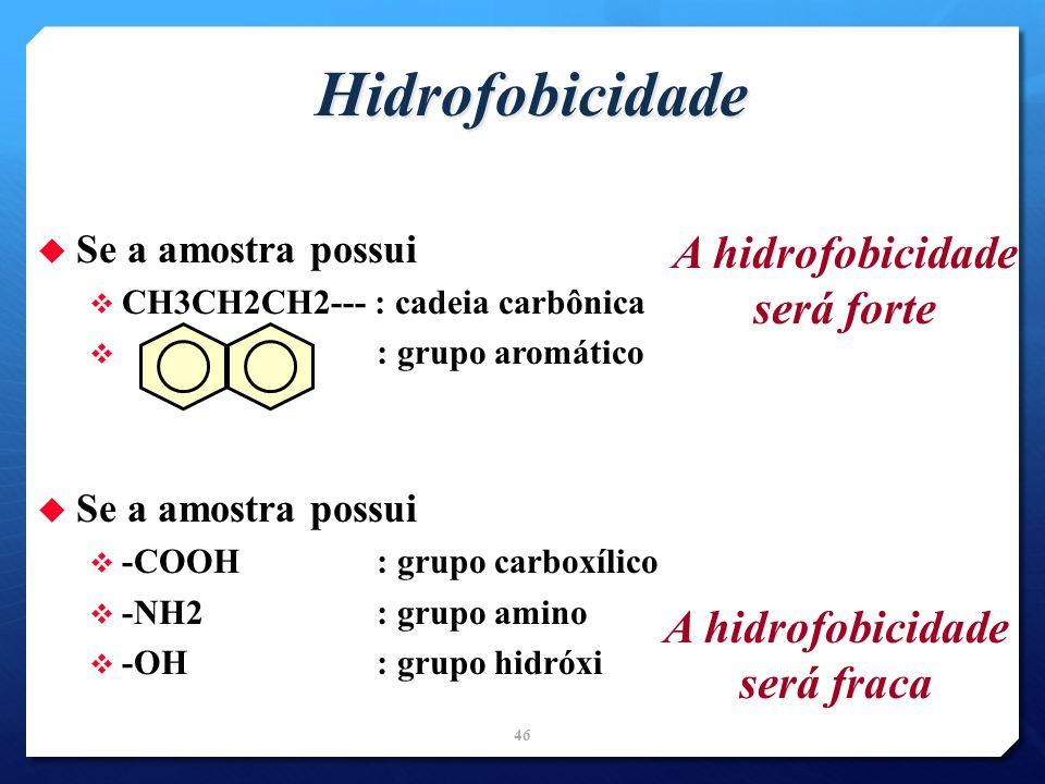 Hidrofobicidade Se a amostra possui CH3CH2CH2--- : cadeia carbônica : grupo aromático Se a amostra possui -COOH : grupo carboxílico -NH2 : grupo amino