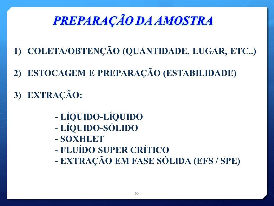 1)COLETA/OBTENÇÃO (QUANTIDADE, LUGAR, ETC..) 2)ESTOCAGEM E PREPARAÇÃO (ESTABILIDADE) 3)EXTRAÇÃO: - LÍQUIDO-LÍQUIDO - LÍQUIDO-SÓLIDO - SOXHLET - FLUÍDO