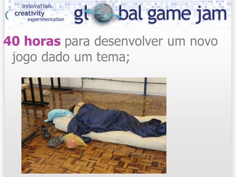 Global Game Jam 40 horas para desenvolver um novo jogo dado um tema;