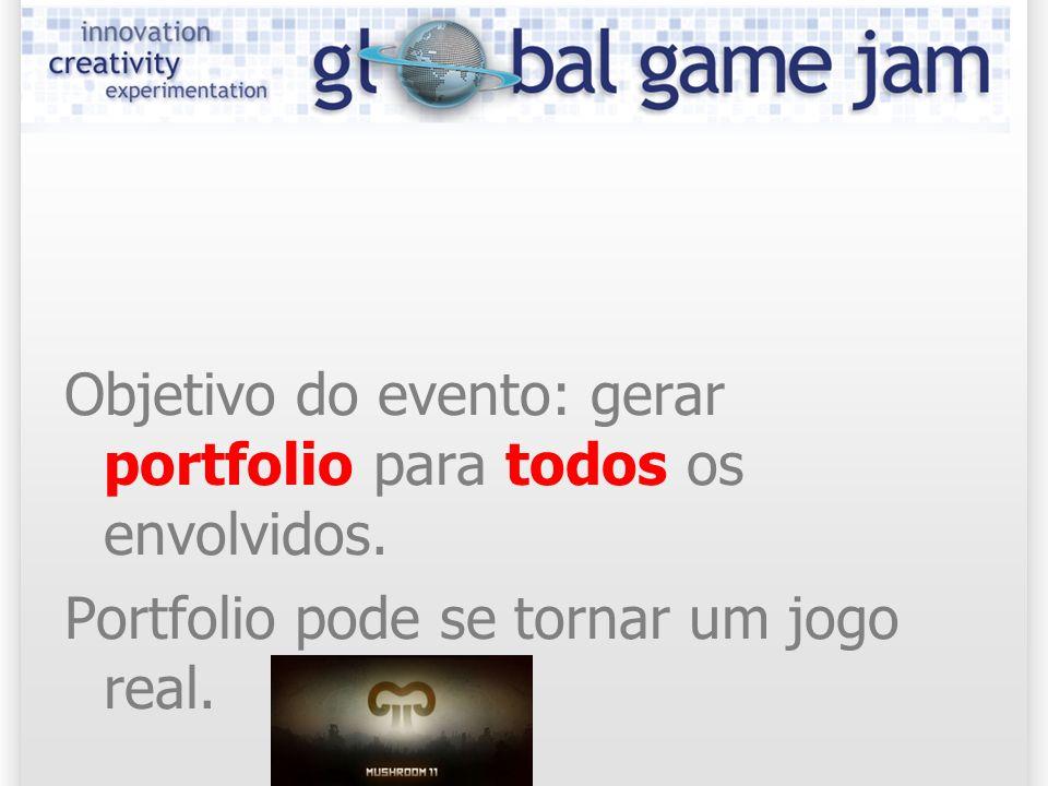 Objetivo do evento: gerar portfolio para todos os envolvidos. Portfolio pode se tornar um jogo real.
