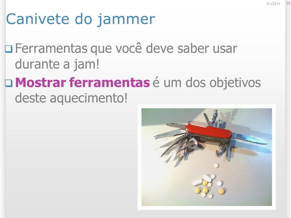 Canivete do jammer Ferramentas que você deve saber usar durante a jam! Mostrar ferramentas é um dos objetivos deste aquecimento! 35 5/1/2014