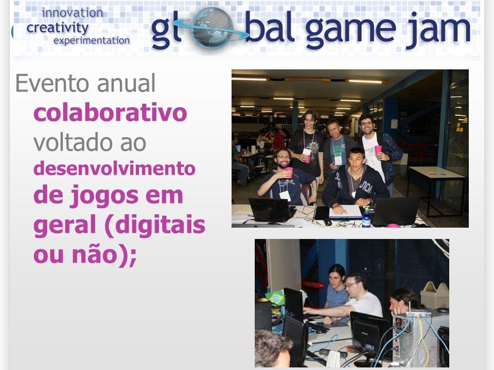 Global Game Jam Evento anual colaborativo voltado ao desenvolvimento de jogos em geral (digitais ou não);