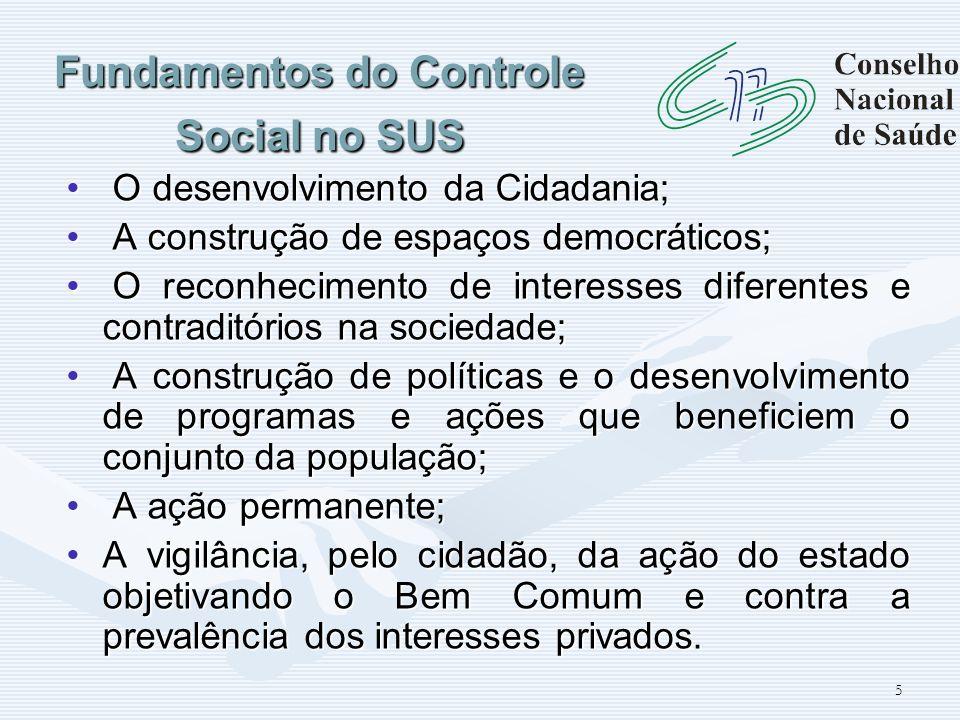 5 Fundamentos do Controle Social no SUS O desenvolvimento da Cidadania; O desenvolvimento da Cidadania; A construção de espaços democráticos; A constr