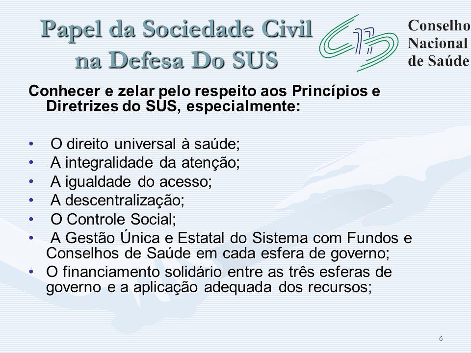 6 Papel da Sociedade Civil na Defesa Do SUS Conhecer e zelar pelo respeito aos Princípios e Diretrizes do SUS, especialmente: O direito universal à sa