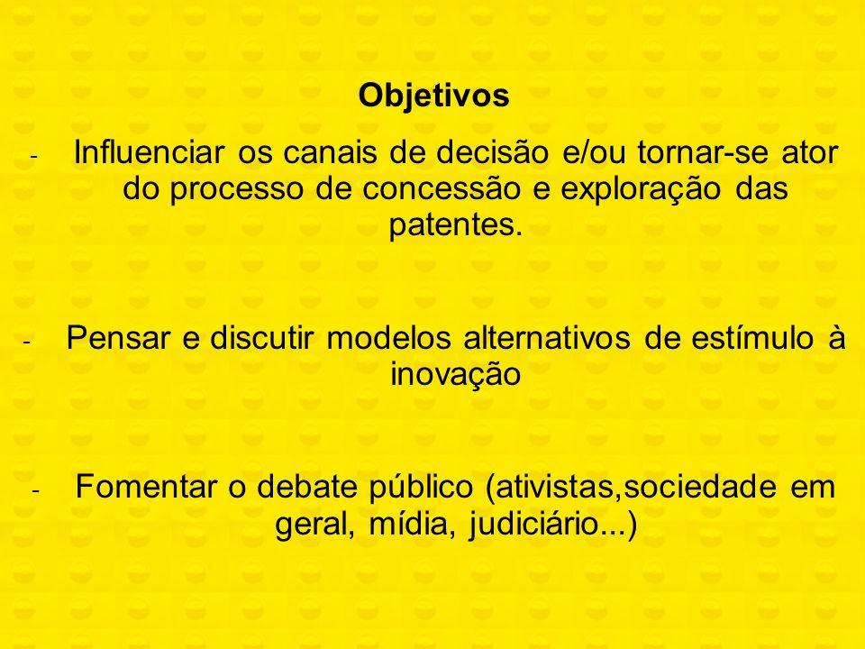 Objetivos - Influenciar os canais de decisão e/ou tornar-se ator do processo de concessão e exploração das patentes. - Pensar e discutir modelos alter