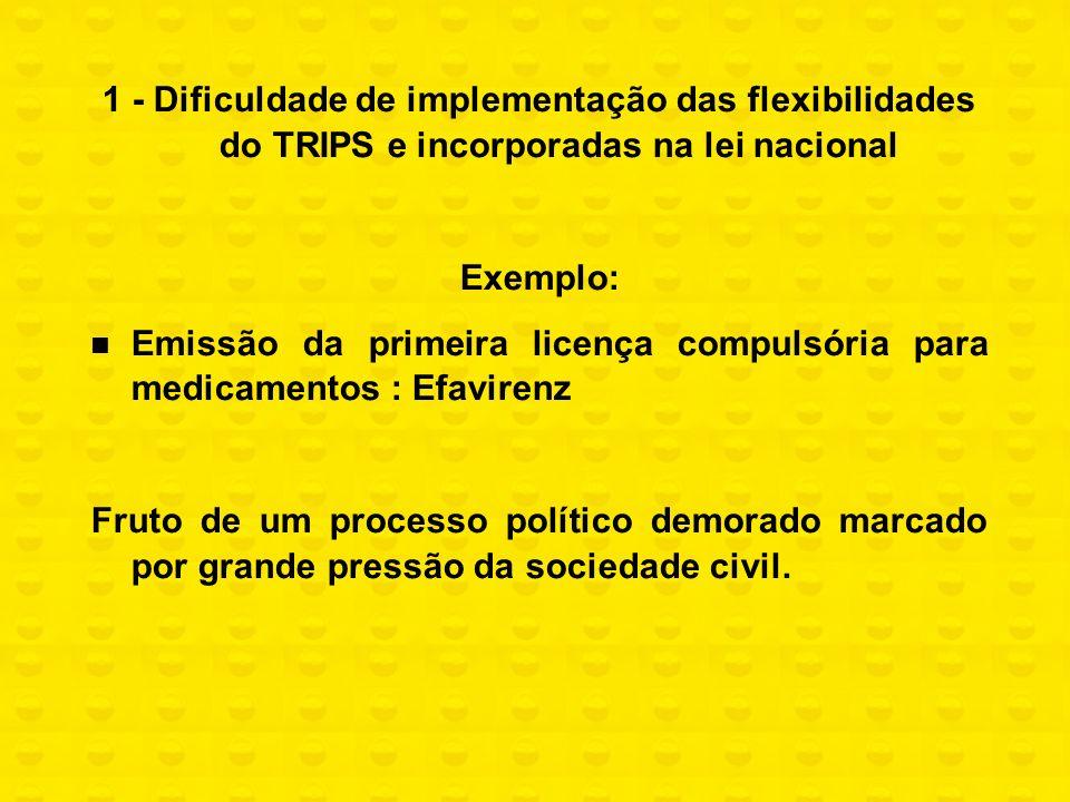 1 - Dificuldade de implementação das flexibilidades do TRIPS e incorporadas na lei nacional Exemplo: Emissão da primeira licença compulsória para medi