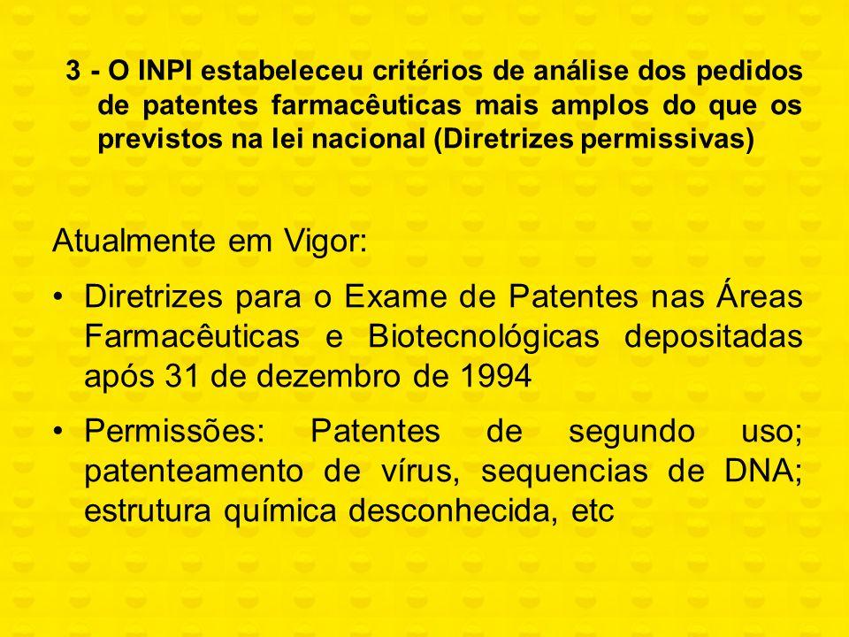 3 - O INPI estabeleceu critérios de análise dos pedidos de patentes farmacêuticas mais amplos do que os previstos na lei nacional (Diretrizes permissi