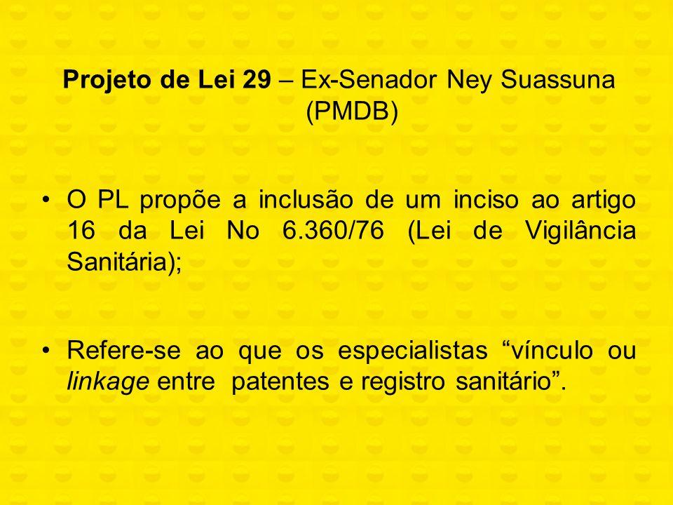 Projeto de Lei 29 – Ex-Senador Ney Suassuna (PMDB) O PL propõe a inclusão de um inciso ao artigo 16 da Lei No 6.360/76 (Lei de Vigilância Sanitária);