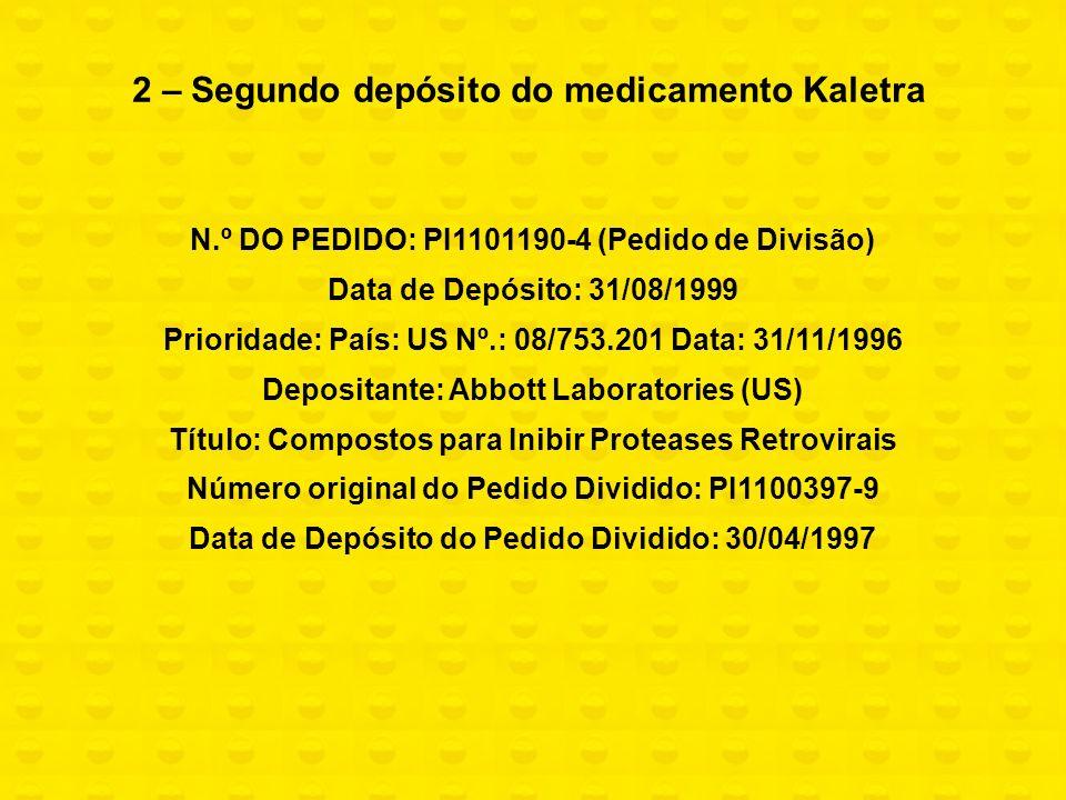 2 – Segundo depósito do medicamento Kaletra N.º DO PEDIDO: PI1101190-4 (Pedido de Divisão) Data de Depósito: 31/08/1999 Prioridade: País: US Nº.: 08/7