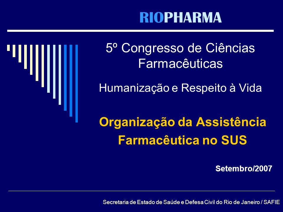 RIOPHARMA 5º Congresso de Ciências Farmacêuticas Humanização e Respeito à Vida Organização da Assistência Farmacêutica no SUS Setembro/2007 Secretaria
