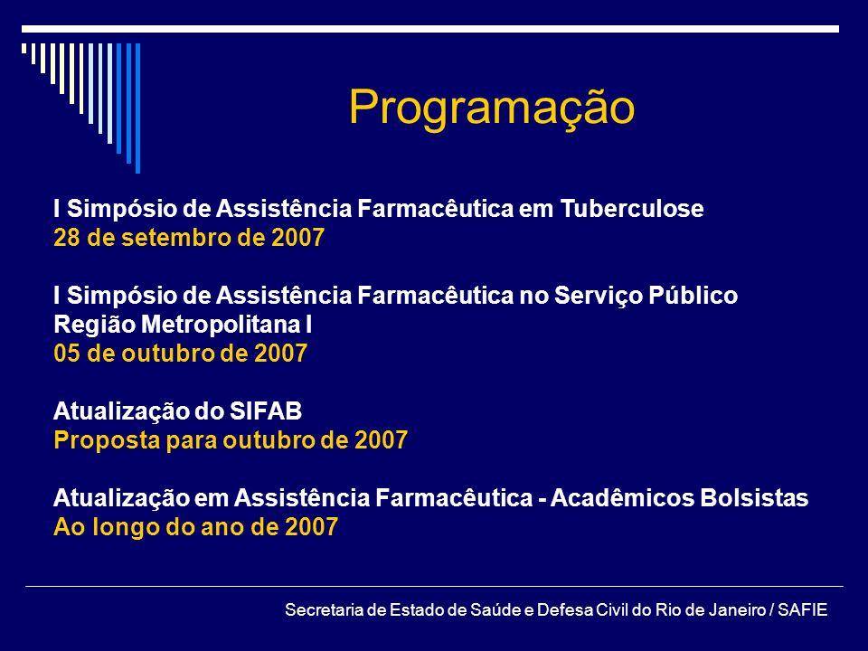 Programação I Simpósio de Assistência Farmacêutica em Tuberculose 28 de setembro de 2007 I Simpósio de Assistência Farmacêutica no Serviço Público Reg
