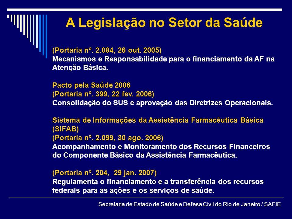 A Legislação no Setor da Saúde (Portaria nº. 2.084, 26 out. 2005) Mecanismos e Responsabilidade para o financiamento da AF na Atenção Básica. Pacto pe