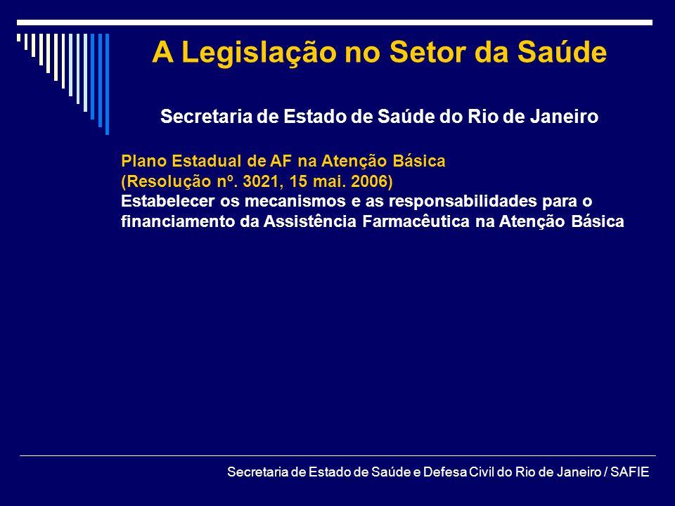 A Legislação no Setor da Saúde Secretaria de Estado de Saúde do Rio de Janeiro Plano Estadual de AF na Atenção Básica (Resolução nº. 3021, 15 mai. 200