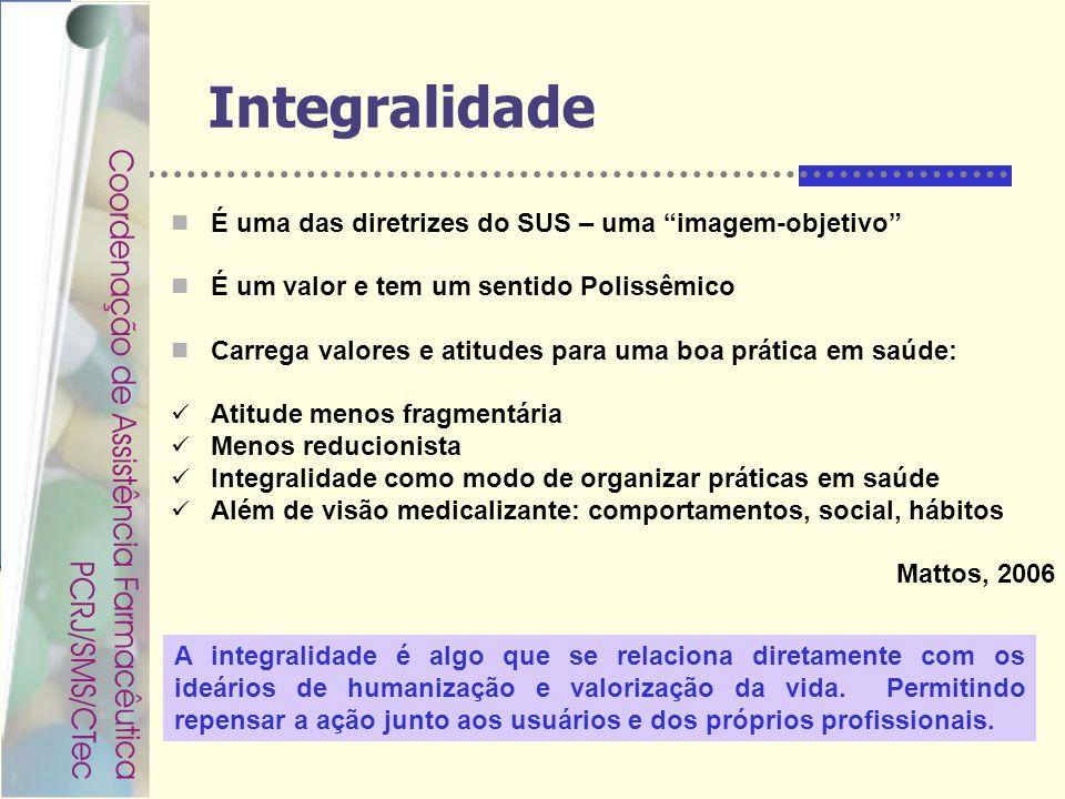 Rondineli Mendes da Silva Integralidade É uma das diretrizes do SUS – uma imagem-objetivo É um valor e tem um sentido Polissêmico Carrega valores e at