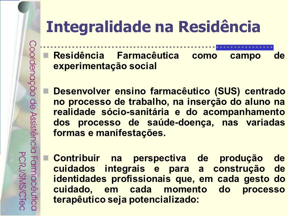 Rondineli Mendes da Silva Integralidade na Residência Residência Farmacêutica como campo de experimentação social Desenvolver ensino farmacêutico (SUS