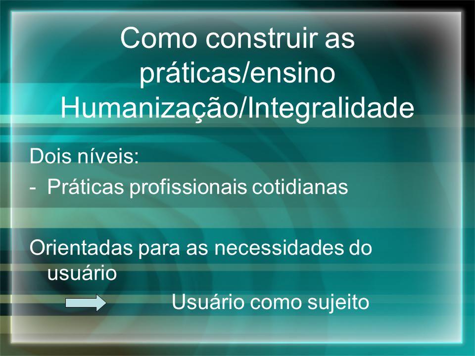 Como construir as práticas/ensino Humanização/Integralidade Dois níveis: -Práticas profissionais cotidianas Orientadas para as necessidades do usuário