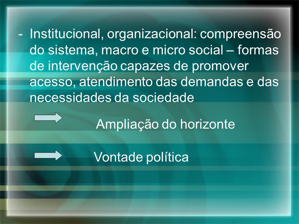 -Institucional, organizacional: compreensão do sistema, macro e micro social – formas de intervenção capazes de promover acesso, atendimento das deman