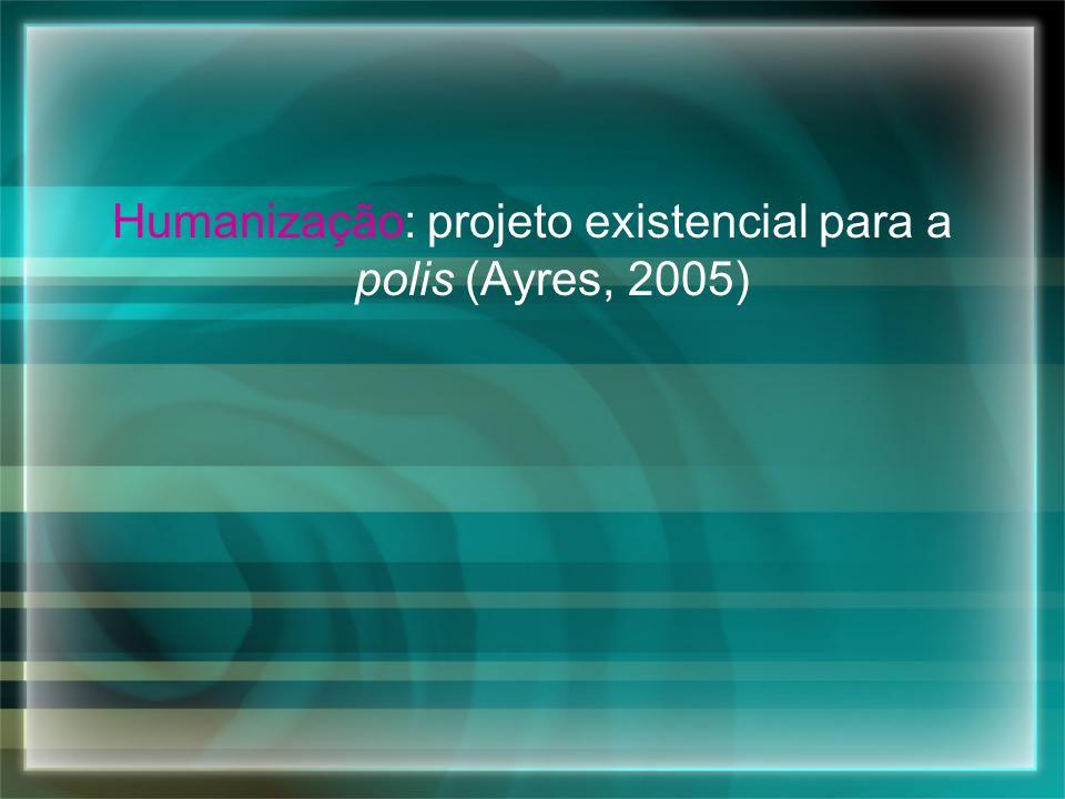 Humanização: projeto existencial para a polis (Ayres, 2005)