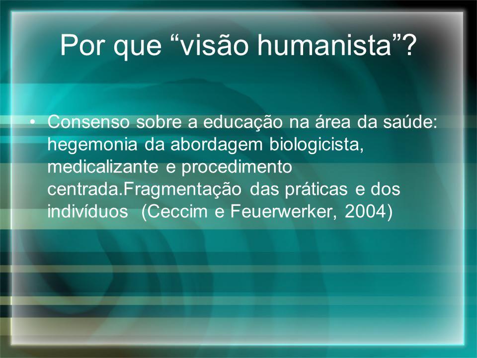 Por que visão humanista? Consenso sobre a educação na área da saúde: hegemonia da abordagem biologicista, medicalizante e procedimento centrada.Fragme