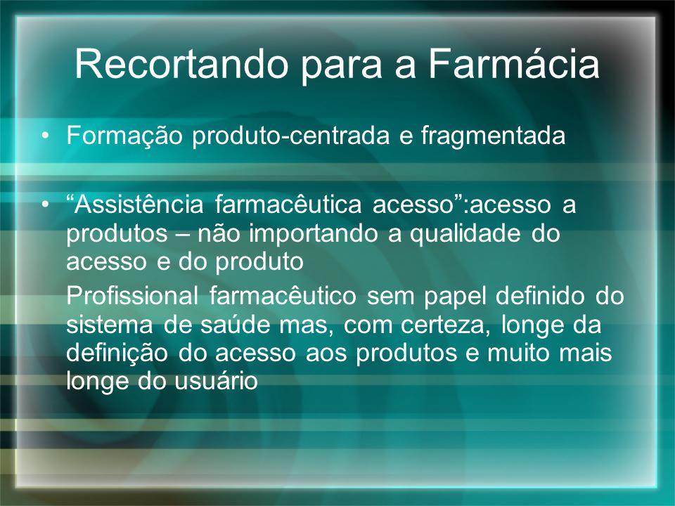 Recortando para a Farmácia Formação produto-centrada e fragmentada Assistência farmacêutica acesso:acesso a produtos – não importando a qualidade do a