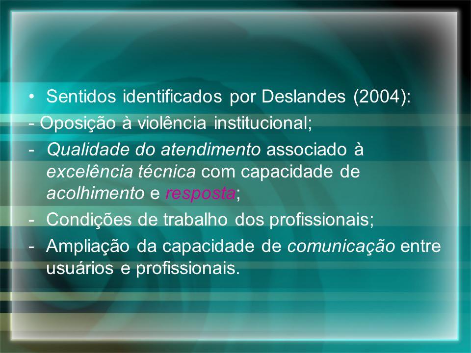 Sentidos identificados por Deslandes (2004): - Oposição à violência institucional; -Qualidade do atendimento associado à excelência técnica com capaci