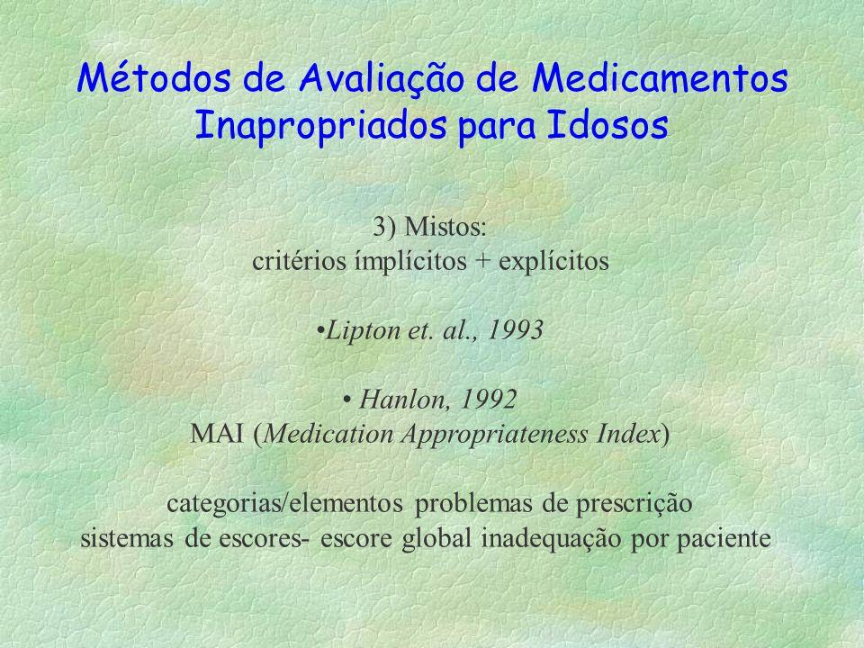 Métodos de Avaliação de Medicamentos Inapropriados para Idosos 3) Mistos: critérios ímplícitos + explícitos Lipton et. al., 1993 Hanlon, 1992 MAI (Med