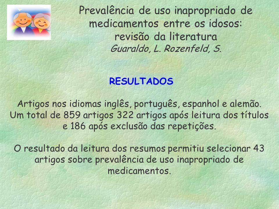 RESULTADOS Artigos nos idiomas inglês, português, espanhol e alemão. Um total de 859 artigos 322 artigos após leitura dos títulos e 186 após exclusão